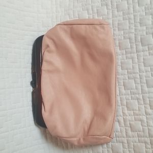 Vtg pink Italian leather and lucite cluch purse
